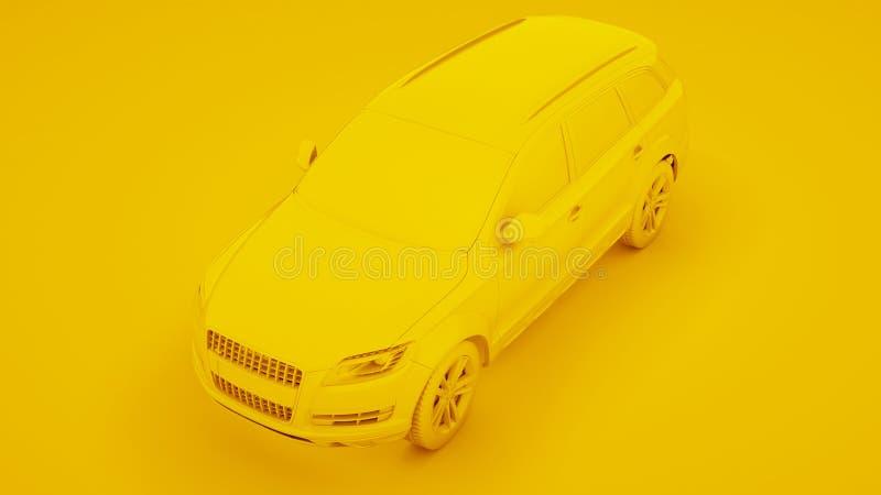 Citt? SUV premio giallo su un fondo giallo rappresentazione 3d fotografia stock libera da diritti