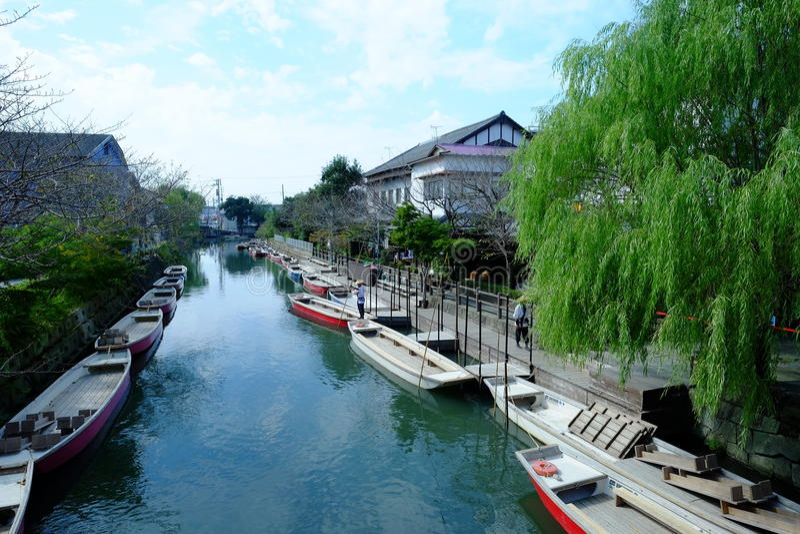 Città tradizionale Yanagawa del canale dell'acqua del Giappone immagini stock
