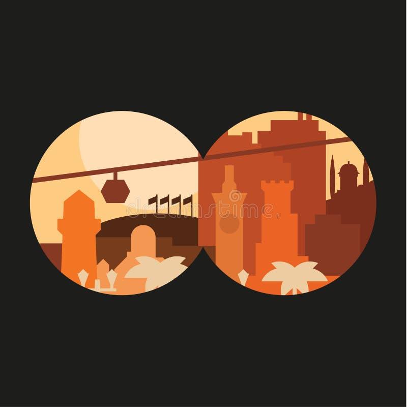 Città tramite il binocolo che costruisce le bandiere della palma nei colore pastello al tramonto royalty illustrazione gratis