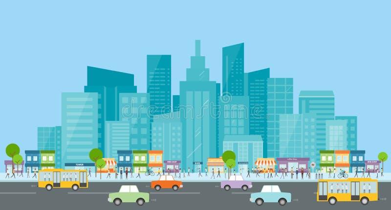 Città trraffic affare della gente in città Comunicazione commerciale folla sulla via Vita di città royalty illustrazione gratis