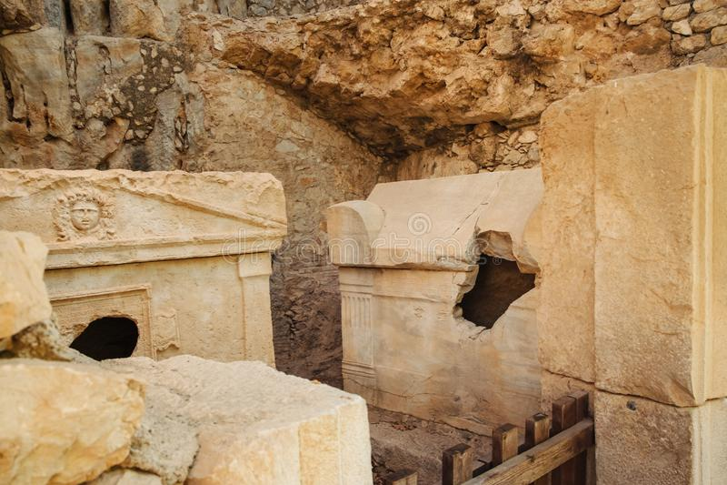 Città turca antica di Lycia e rovine di Olympos, viaggio in Turchia fotografia stock