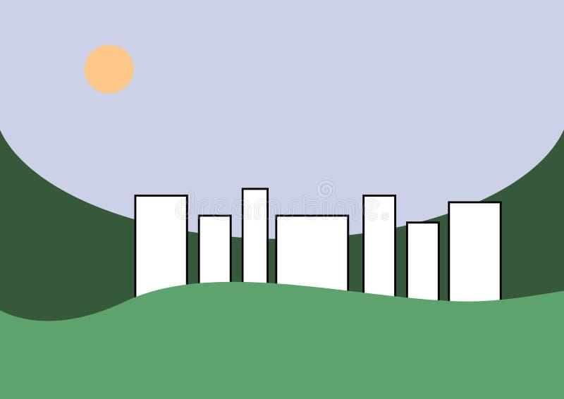 Città in un paesaggio verde immagini stock