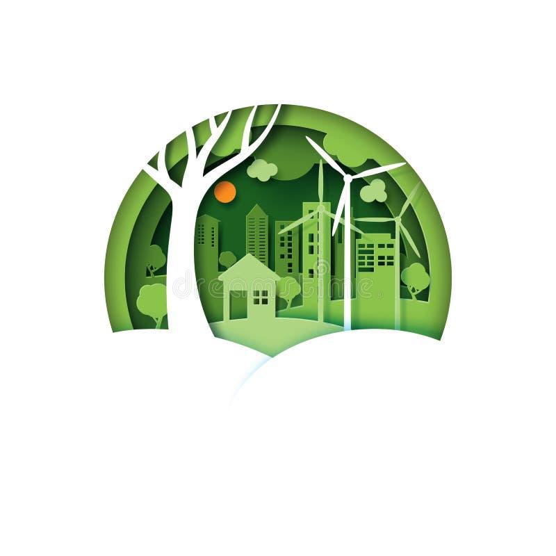 Città urbana amichevole di cco verde sul fondo del paesaggio della natura illustrazione di stock