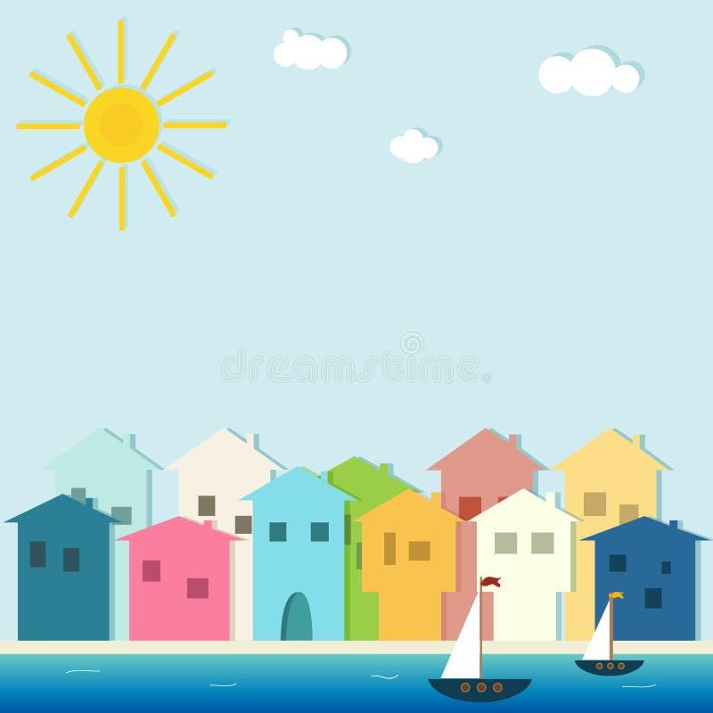 Città variopinta, Camere da vendere/affitto Case del bene immobile?, appartamenti da vendere o per affitto illustrazione di stock