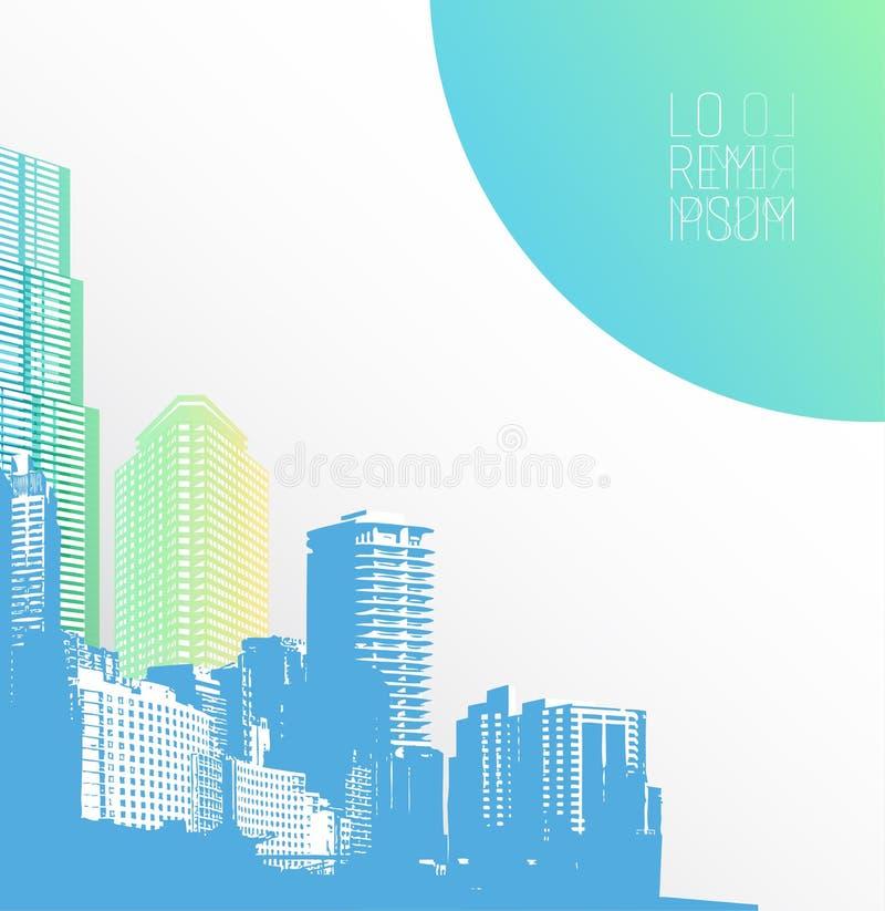 Città variopinta di panorama illustrazione di stock
