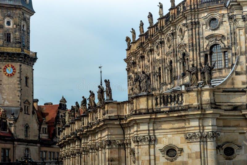 Città Vecchia di Dresda, Germania La chiesa cattolica della corte reale della Sassonia immagini stock libere da diritti