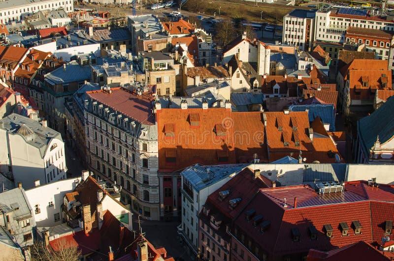 Città Vecchia di Riga (Lettonia) nella sera fotografia stock libera da diritti