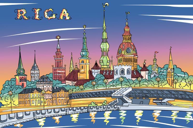 Città Vecchia e Daugava alla notte, Riga, Lettonia del fiume illustrazione di stock