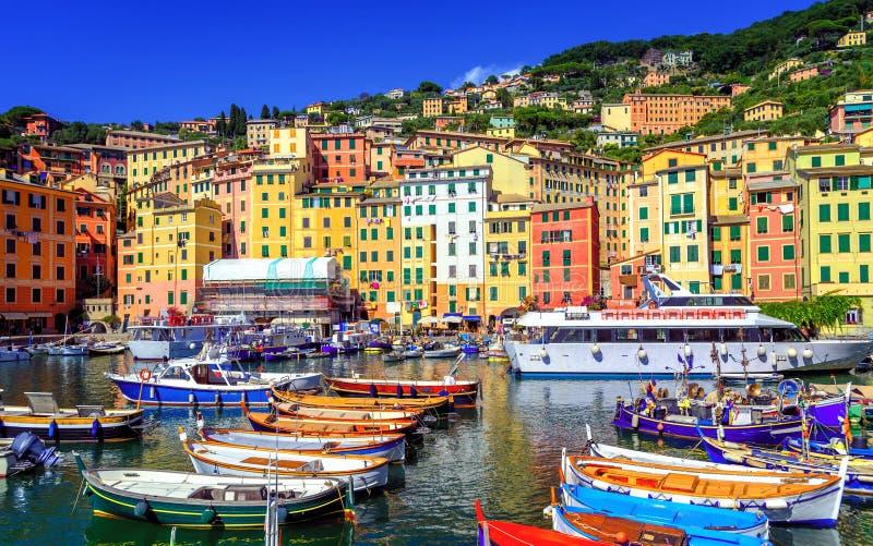 Città Vecchia variopinto di Camogli da Genova, Liguria, Italia fotografia stock libera da diritti