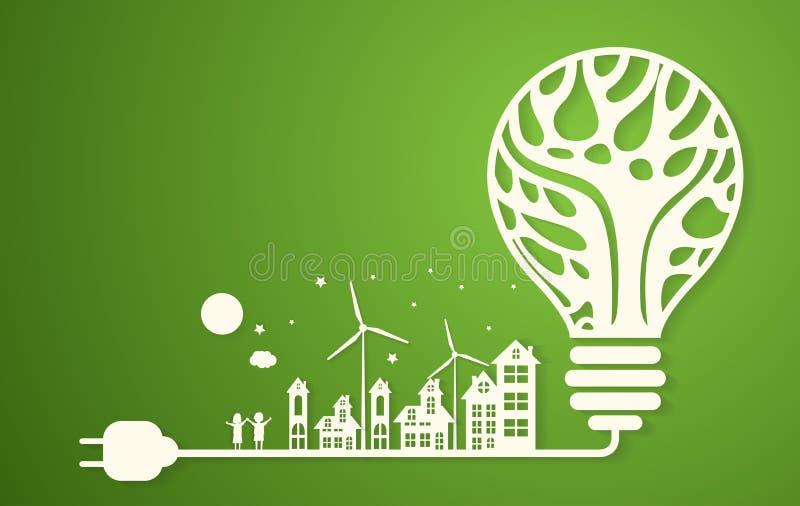 Città verde di eco con l'albero asciutto nel concetto di eco della lampadina royalty illustrazione gratis