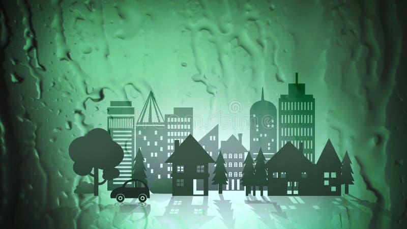 Città verde di Eco sul fondo astratto dell'acqua illustrazione vettoriale