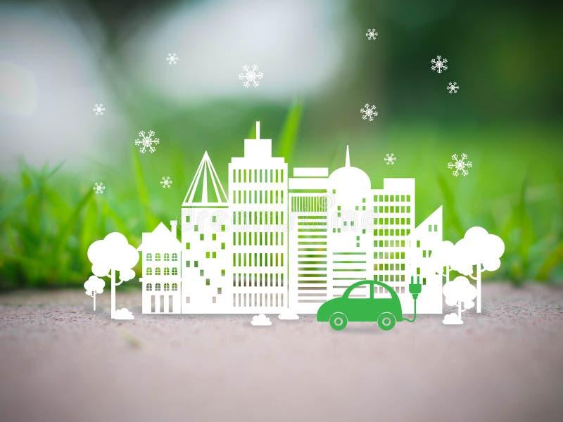 Città verde di ecologia illustrazione vettoriale
