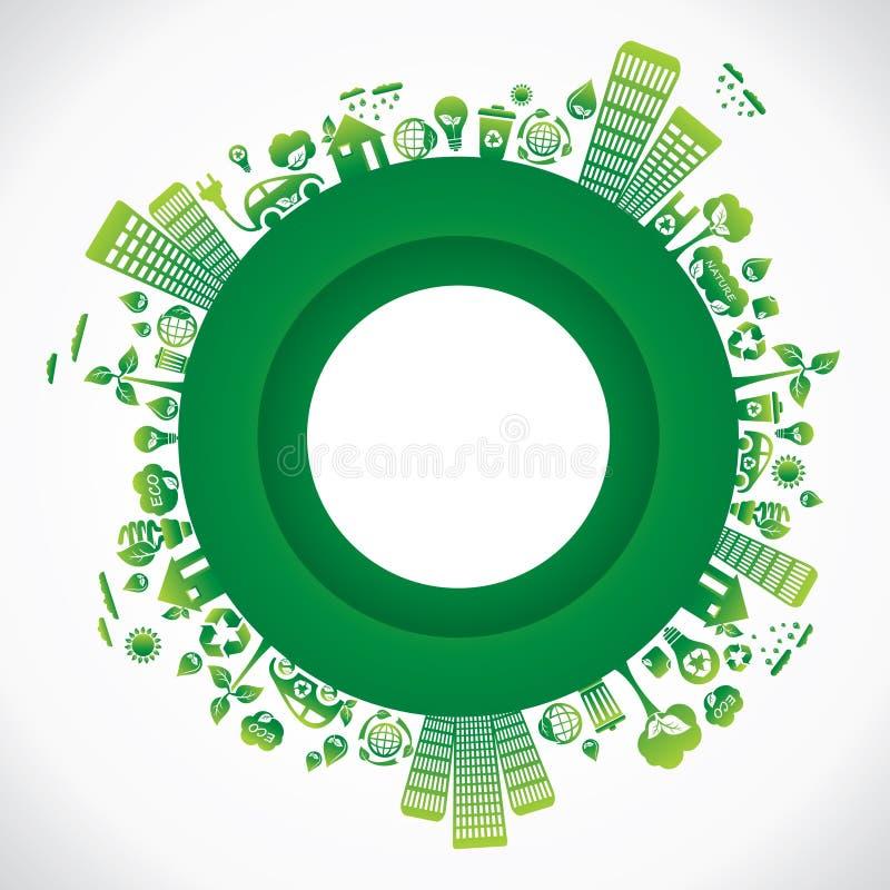 Città verde intorno a priorità bassa illustrazione vettoriale