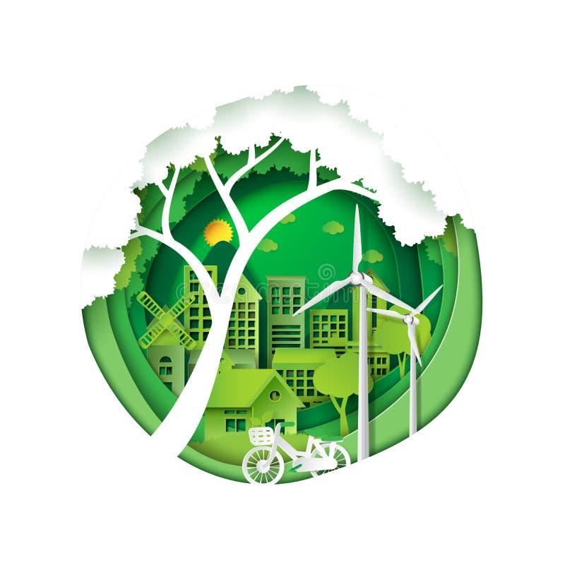 Città verde per conservazione dell'ambiente royalty illustrazione gratis
