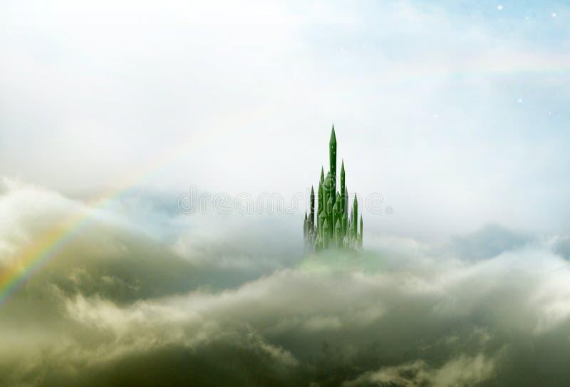 Città verde smeraldo 3 con l'arcobaleno illustrazione di stock
