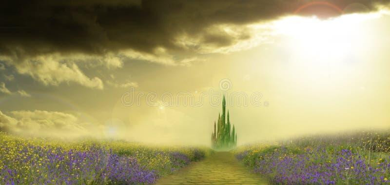 Città verde smeraldo nella primavera illustrazione vettoriale
