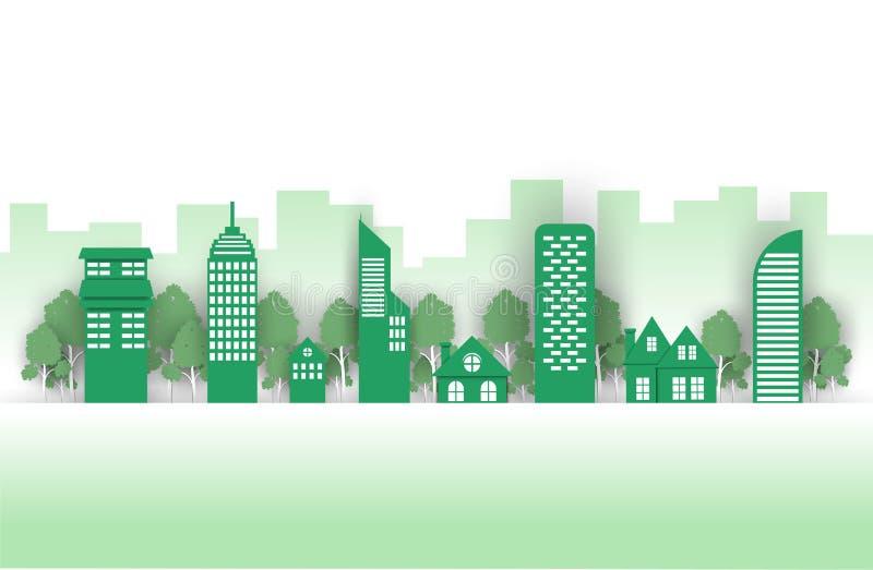 Città verde su un fondo verde, città di Eco fotografia stock