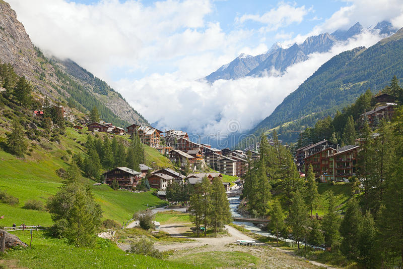 Città Zermatt fotografie stock libere da diritti