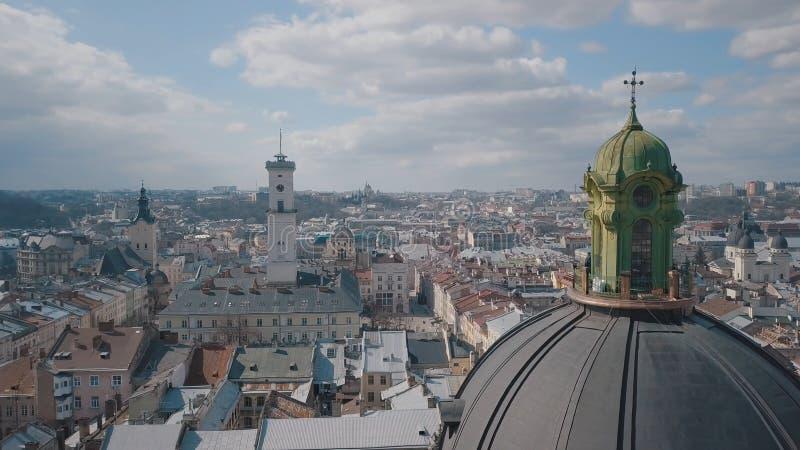 Citt? aerea Leopoli, Ucraina Citt? europea Aree popolari della citt? domenicano immagine stock
