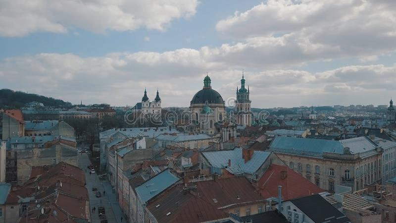 Citt? aerea Leopoli, Ucraina Citt? europea Aree popolari della citt? domenicano fotografie stock libere da diritti