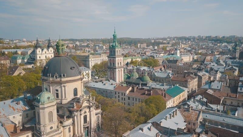 Citt? aerea Leopoli, Ucraina Citt? europea Aree popolari della citt? domenicano immagine stock libera da diritti