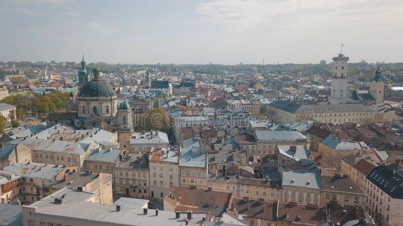 Citt? aerea Leopoli, Ucraina Citt? europea Aree popolari della citt? domenicano immagini stock