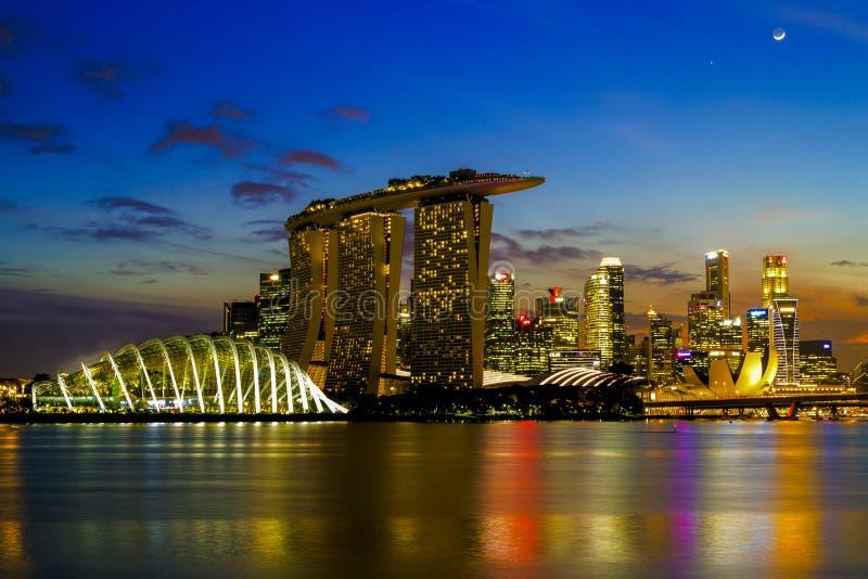 CITT? DI SINGAPORE, SINGAPORE: Settembre 29,2017: Orizzonte di Singapore Il distretto aziendale di Singapore, sabbia della baia d immagini stock