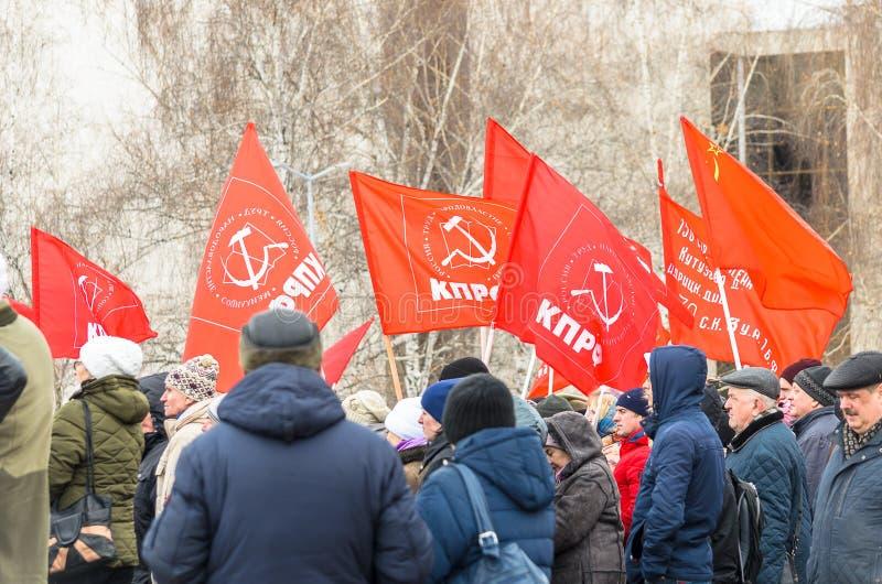 Citt? di Ul'janovsk, Russia, march23, 2019, un raduno dei comunisti contro la riforma del governo russo immagini stock libere da diritti