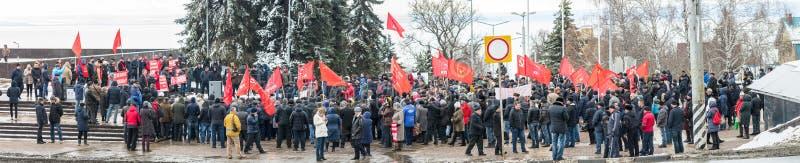 Citt? di Ul'janovsk, Russia, march23, 2019, un raduno dei comunisti contro la riforma del governo russo fotografia stock
