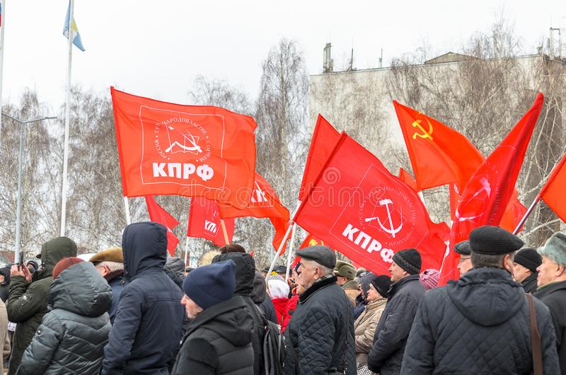 Citt? di Ul'janovsk, Russia, march23, 2019, un raduno dei comunisti contro la riforma del governo russo immagine stock libera da diritti