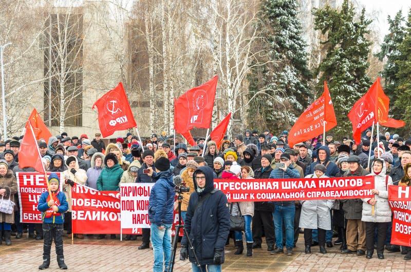 Citt? di Ul'janovsk, Russia, march23, 2019, un raduno dei comunisti contro la riforma del governo russo fotografie stock