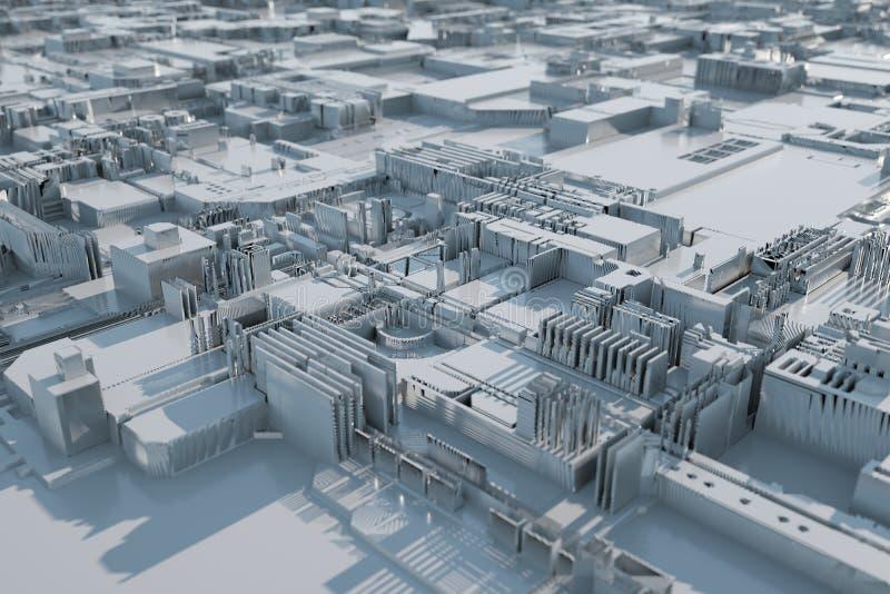 Citt? futuristica astratta illuminata da luce solare illustrazione 3D fotografie stock libere da diritti