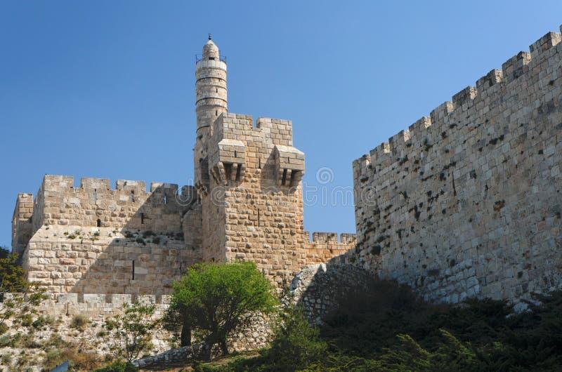 Cittadella e torretta antiche di David a Gerusalemme immagine stock
