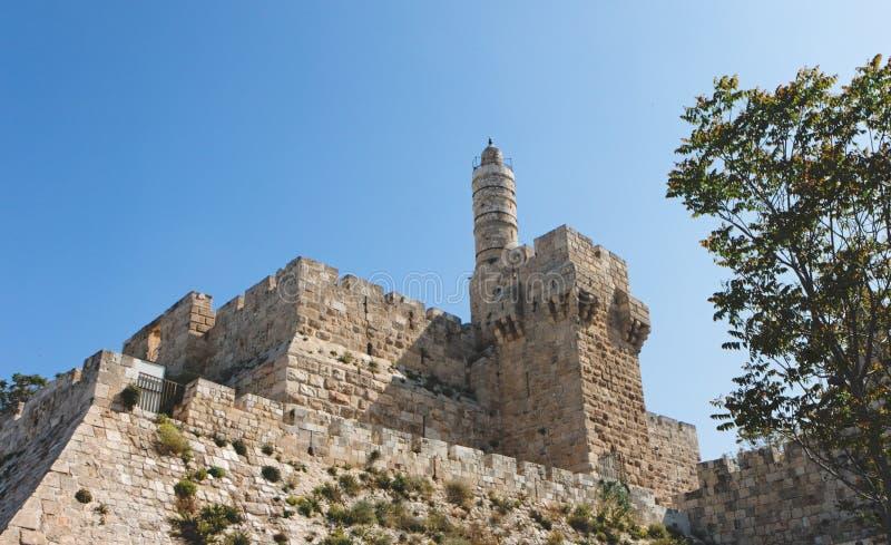 Cittadella e torretta antiche di David a Gerusalemme immagini stock