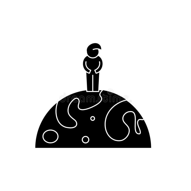 Cittadino dell'icona del nero del mondo, segno di vettore su fondo isolato Cittadino del simbolo di concetto del mondo, illustraz royalty illustrazione gratis
