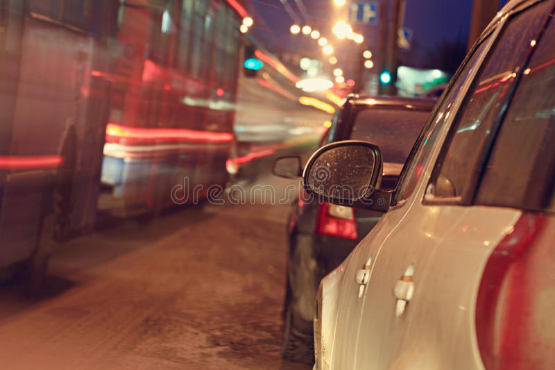 City ​​car traffic jams night lights. Speed royalty free stock photos