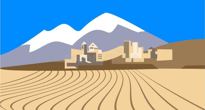 City in the desert stock illustration
