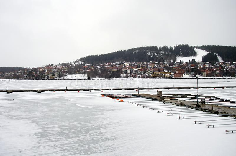 The city of Östersund in Sweden-02.03.2019. The city of Östersund in Jämtland,Sweden on a cold and snowy day by the frozen lake Storsjön royalty free stock photos