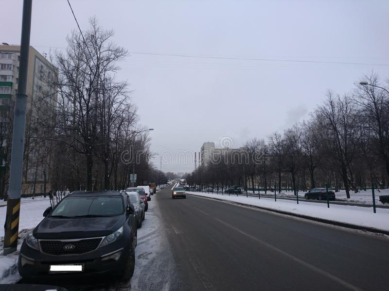 city architecture.Winter.Road and cars. royalty free stock photos