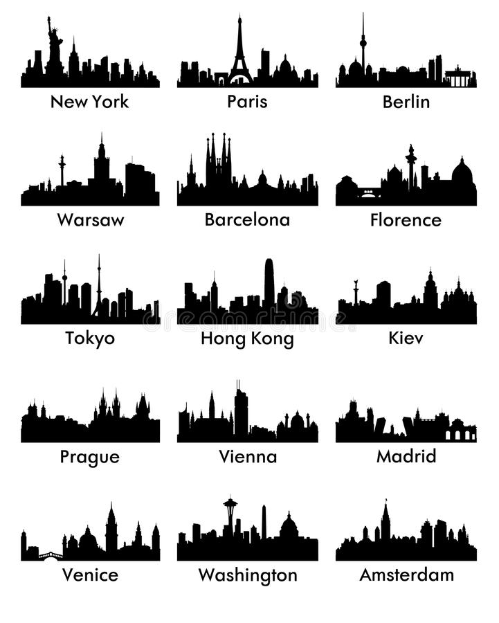 City ​​silhouette vector 15. Set of silhouettes of a city of peace royalty free illustration