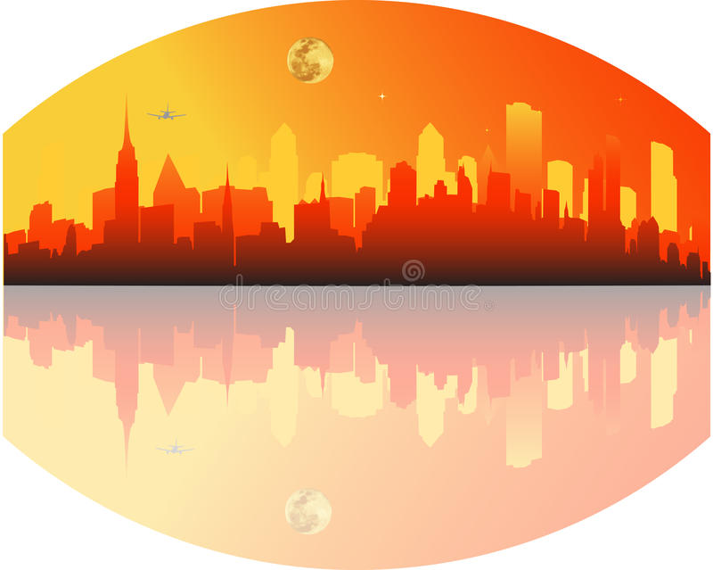 City. Vector illustration of sunset in the big city stock illustration