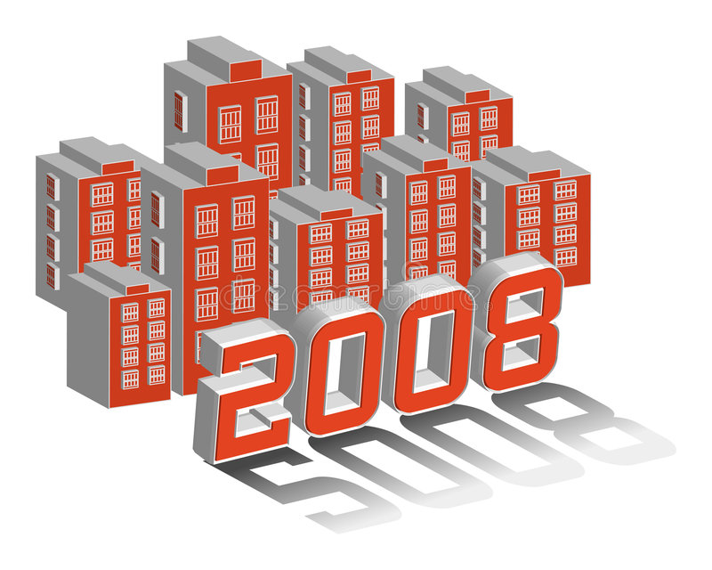 City of 2008. City and building with year 2008 3D illustration vector vector illustration