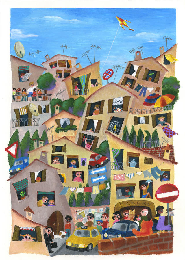 City. An illustration of a bright and chaotic town. Hand made illustration