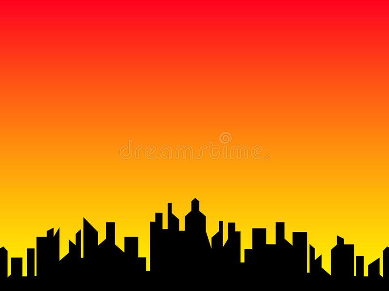 City. Illustration of city in the evening royalty free illustration