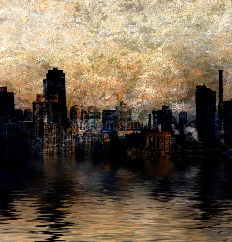 City. Painting at sunset with waters reflections