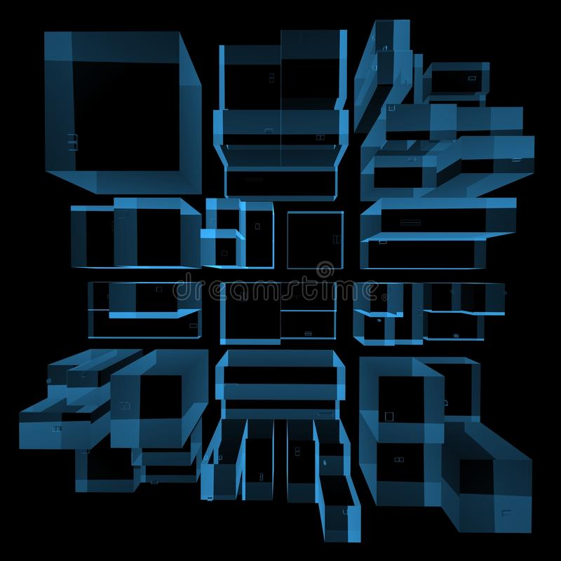 City 3D rendered xray blue royalty free illustration