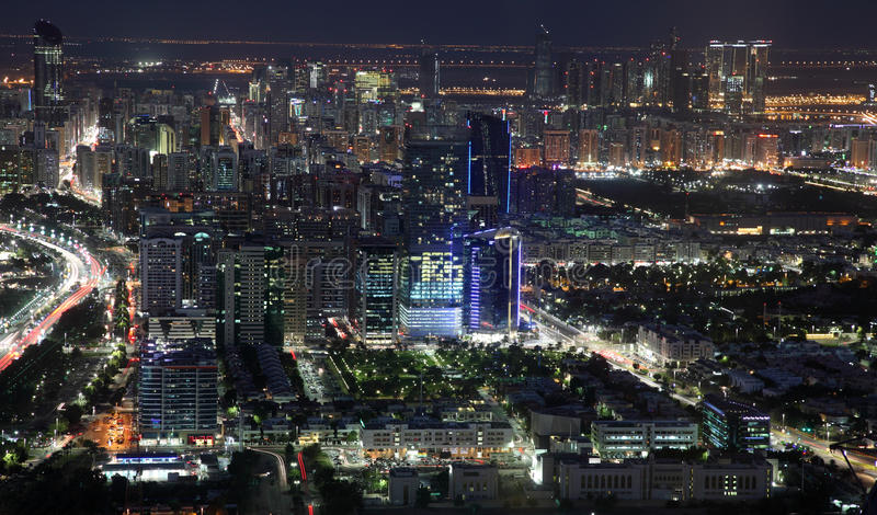 City of Abu Dhabi at night stock photo