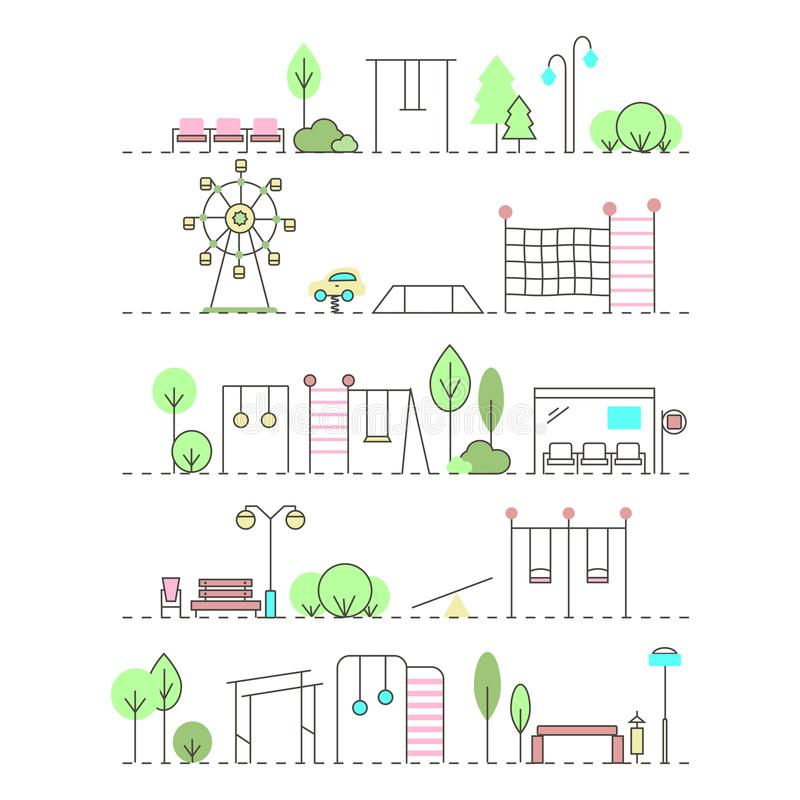 City activities illustration in linear style. royalty free illustration