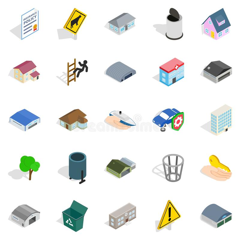 City administration icons set, isometric style royalty free illustration
