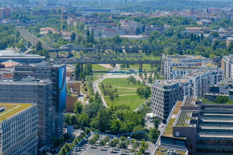 City aerial - public park in downtown Berlin royalty free stock images